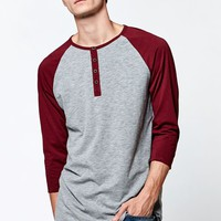 On The Byas Dean Raglan Longline Baseball T-Shirt - Mens Shirt - Gray
