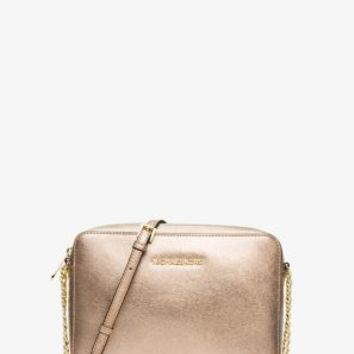Jet Set Travel Metallic Saffiano Leather Crossbody | Michael Kors