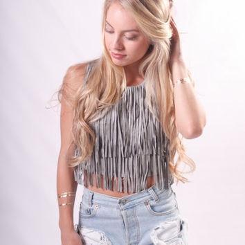 """Stagecoach"" Faux Suede Fringe Top"