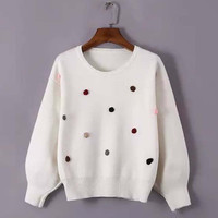 Pom Applique Loose Sleeve Sweater