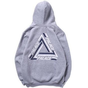 PALACE autumn and winter classic skateboard triangle print men and women hoodie grey