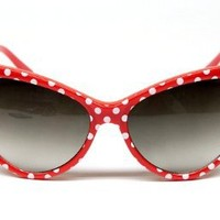 Cat Eye Vintage Retro Polka Dots Sunglasses Womens Wm501 (red, uv 400)