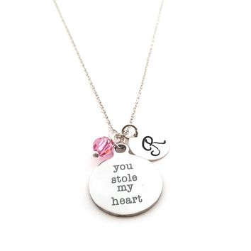 You Stole My Heart Personalized Sterling Silver Necklace