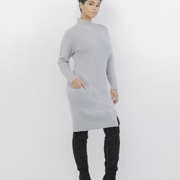 ZIP SERVICE ZIPPERED SWEATER DRESS - GREY