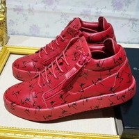 Giuseppe Zanotti 2018 autumn and winter new men's logo pattern decorative fabric top sports shoes Red