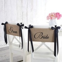Mud Pie Bride and Groom Chair Sash Set by Mud Pie