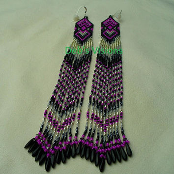 Native American Style Brick Stitched Ombre Shoulder duster earrings in Hot Pink,Black and Greys