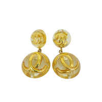 """Vintage CHANEL Lucite """"CC"""" Dangling Earrings Circa 1988-1989."""
