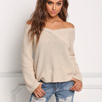 Khaki Thick Knit Off Shoulder Sweater Top
