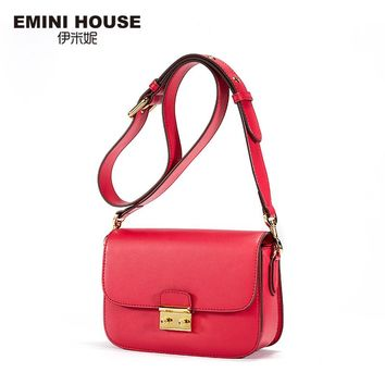 EMINI HOUSE Vintage Flap Padlock Bags Split Leather Women Shoulder Bag Fashion Crossbady Bags High Quality Women Messenger Bag