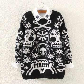 Fashion Knitted Sweater Skull Print Europe Pullovers