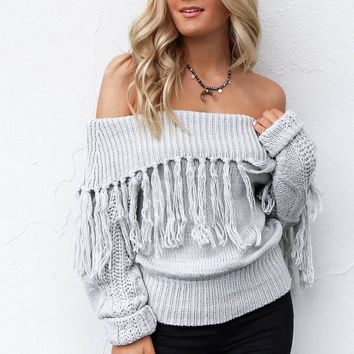 Independent Heather Gray Off Shoulder Fringe Sweater