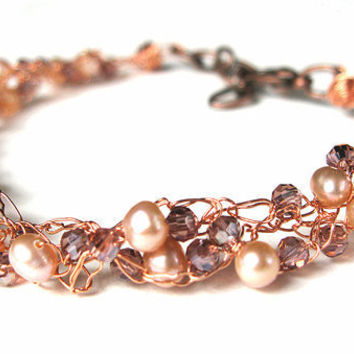 Fresh Water Pearl Crochet Wire Bracelet