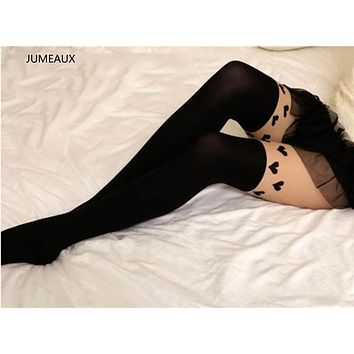 JUMEAUX 2017 Lovely Heart Pattern False High Stocking Pantyhose For Women Sexy Black Fancy Tights For Girls Fashion Charms
