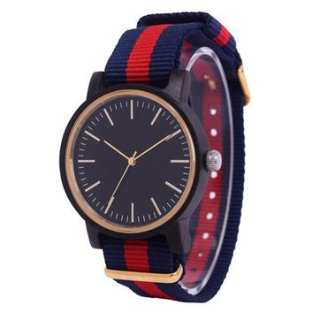 Minimalist Wood Watches For Men Woman With Top Brand Rainbow Nylon Cloth Clock As Simple Design Unisex Watch