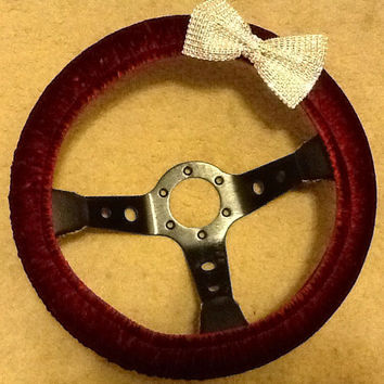 Burgundy steering wheel cover with rhinestone bow