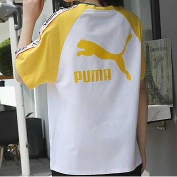 PUMA summer new tide brand men and women couple models loose string T-shirt F-CY-MN yellow
