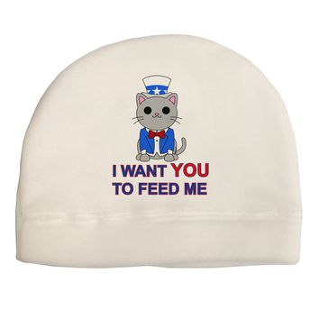 Patriotic Cat I Want You Adult Fleece Beanie Cap Hat by TooLoud