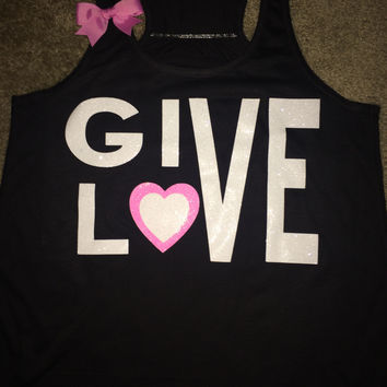 Give Love - Valentines Day - Heart Tank - Racerback tank - Womens Fitness Tank - Workout clothing