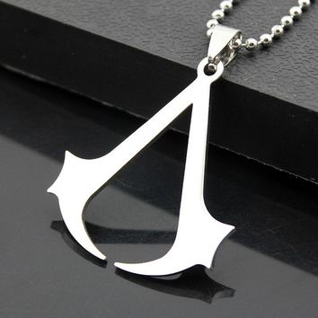 KISSWIFE 2018 Hot sales fashion Cospaly Jewelry Assassins Creed Necklace Silver Stainless Steel Pendant Necklace For men women