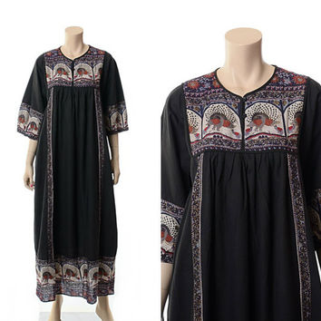 Vintage 70s 80s Ethnic India Peacocks Maxi Dress 1970s 1980s Metallic Floral Indian Woven Cotton Boho Hippie Gypsy Festival Long Dress