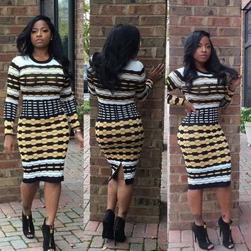 Printed Long Sleeve Bodycon Midi Dress with Slit