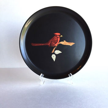 Vintage Couroc Inlaid Stone and Wood Cardinal Tray