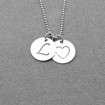 Large L Initial Necklace, Sterling Silver Initial Heart Necklace, Letter L Necklace, Charm Necklace, Monogram Necklace, Letter L Pendant