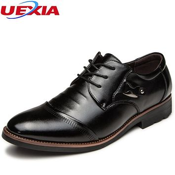 UEXIA New Formal Office Business Shoes Men Pointed Toe Dress shoes Male Flats Lace-Up Pointed Toe Wedding Luxury Casual Leather