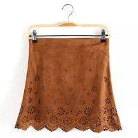 Solid Suede Leather Floral Eyelet Zipper A-Line Mini Skirt