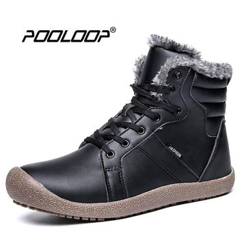 POOLOOP Men Snow Boots Big size Casual Outdoor Work Shoes Men Warm Plush Inside Ankle Boots Waterproof Winter Botas Size 6-14