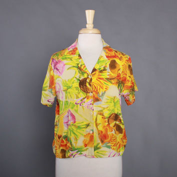 90s JAMS World Rayon Novelty Ukelele Print SHIRT / 1990s HAWAIIAN Tropical Floral Blouse