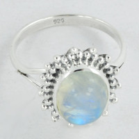 Moonstone Ring, Designer Ring, Moonstone Jewelry, Rainbow Ring, Stone ring, Rainbow gemstone Jewelry, 925 silver Ring, Size US 5 6 7 8 9 10