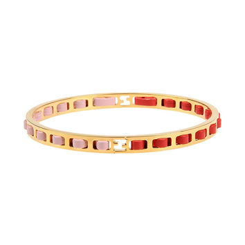 Fendi Pink and Red Woven Calfskin Leather Women's Gold Metal Bangle Bracelet