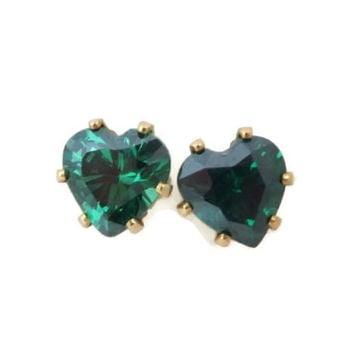Vintage 14K Yellow Gold Heart Earrings, Emerald Green CZ Pierced Stud Earrings