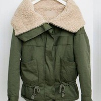 Large Lapel Imitation Sherpa long sleeve lapel green coat  Other type  Solid Pop  style cy91501801 in  Indressme