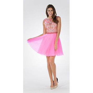 Sleeveless Sweet Sixteen Dress Embellished Bodice Tulle Skirt Hot Pink