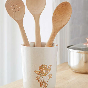 Botanical Wax Resist Utensil Holder | Urban Outfitters
