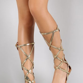 Qupid Strappy O-Ring Open Toe Gladiator Flat Sandal