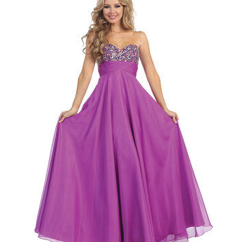 Light Purple Sweetheart Beaded Empire Waist Strapless Chiffon Dress 2015 Prom Dresses