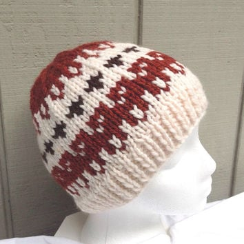 Fair Isle beanie - Knit wool beanie - Womens beanie - Teens knitted hat - Fair Isle beanie - Womens knitted hat