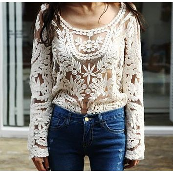 Drop shipping New 2016 Spring  Women's Semi Sheer Sleeve Embroidery Top shirt Fashion Sexy Lace Floral Crochet Blouse Shirt