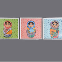 Set of three Nursery wall art, nursery babushka print set, children print set