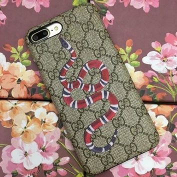 GUCCI Fashion Snake Embroidery iPhone Phone Cover Case For iphone 6 6s 6plus 6s-plus 7