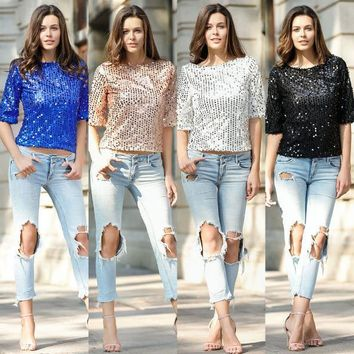 Ladies Beads Sequin T-shirt blouse