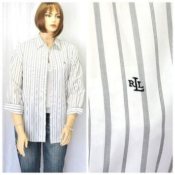 Vintage 80s Ralph Lauren pin striped white cotton oxford shirt L Lauren preppy long sl