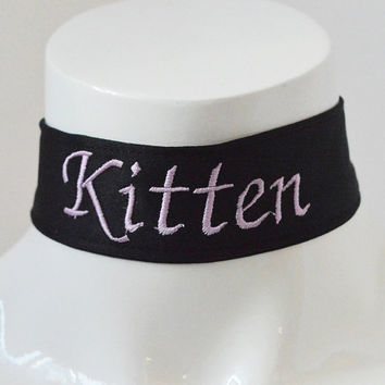 Kitten play collar - Embroidered Kitten - black -  ddlg little princess kawaii cute neko lolita pet play - pink embroidery
