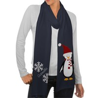 Personalized: Red Penguin and Snowflakes Scarf