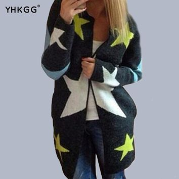 YHKGG 2016 Cardigans Autumn Star Pattern Print Casual Fashion Women Long Loose Sweater Warm Knitted Long Sleeve
