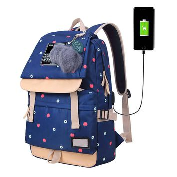 Anti-theft USB Female Fashion Letters Printing Backpack Women Backpack Mochila School Backpack Bag Casual Laptop Bag 10.18